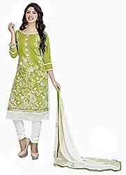 Khushali Presents Chudidar Dress Material(Green,White)