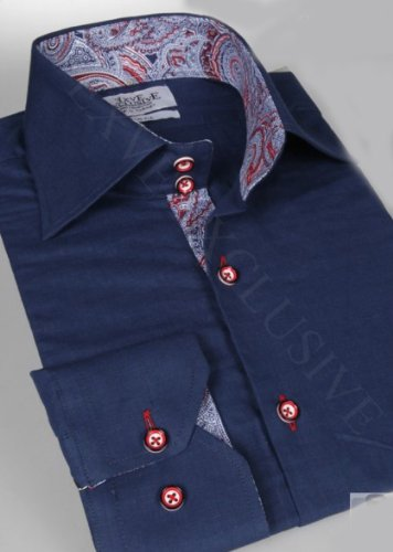 Jermyn street shirts Mens Blue Slim Fit formal Paisley Shirt - Large