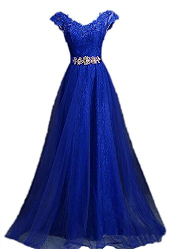Generic Women's V Neck Cap Sleeve Lace Party Prom Dresses, Blue, US8