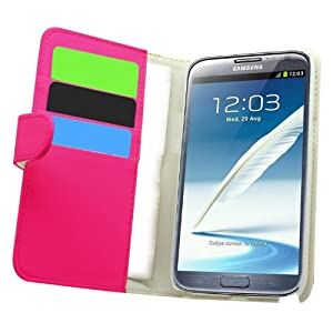 Samrick Executive Specially Designed Leather Book Wallet Case with Credit Card/Business Card Holder for Samsung N7100 Galaxy Note 2 - Pink