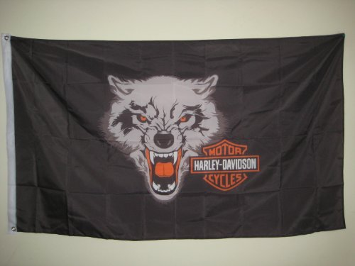 HARLEY-DAVIDSON motorcycle 3x5 FLAG BANNER with white wolf