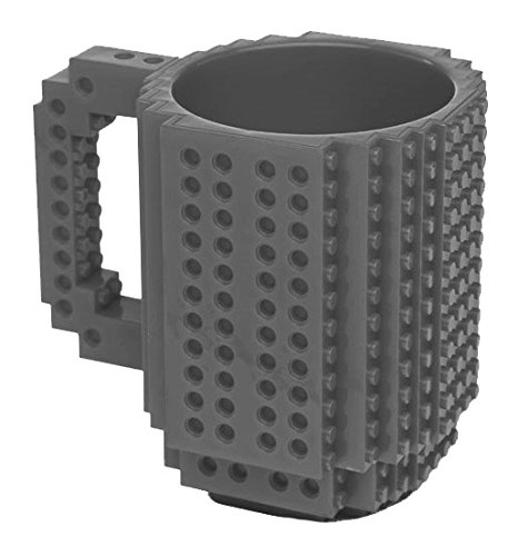 Build-On Brick Mug - BPA-free 12oz Coffee Mug, Garden, Lawn, Maintenance (Grey)