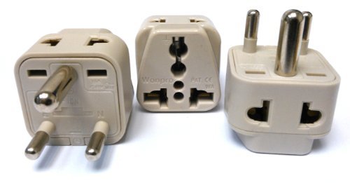 CKITZE BA-10-3P Grounded Universal 2-in-1 Type D Plug Adapter - 3 Pack (Adaptor Plugs For India compare prices)