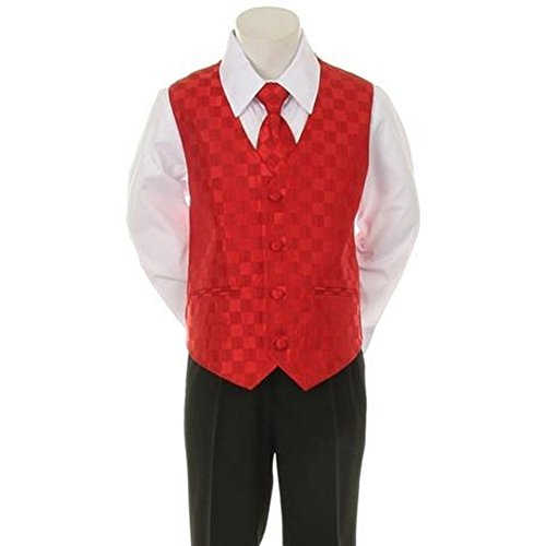 Kids Dream Red Checkered Vest Formal Special Occasion Boys Suit 18M front-920660