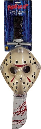 Friday The 13Th Jason Voorhees Mask And Machete Set, White, Standard