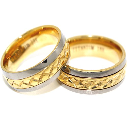 Blue Chip Unlimited - Matching 7mm Titanium Middle Gold Facet Rings His & Hers Ring Set Wedding Bands Engagement Rings (Available in Whole & Half Sizes 4-16)