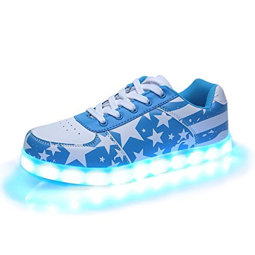 iTURBOS Americana&Cotton Hover Light Up Shoes - Light Up LED Shoes for Women - 7 Static & 3 Dynamic Color Modes, 1 Strobe Mode - Trendy Rechargeable LED Sneakers (Charger Included) Blue 34