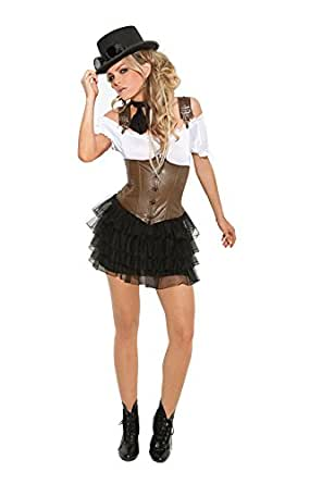 Sexy Steampunk Samantha Halloween Roleplay Cosplay Costume 4pc Set