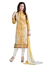 Manvaa Yellow Chanderi Silk Embroidered Dress Material