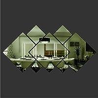 YSTD® 3d Glass Shining Diamond Shape Acrylic Mirror Effect Silver Wall Sticker Mural Window Glass Tile Bedroom Art Wall Decal Decor DIY Bedroom Living Room from YSTD