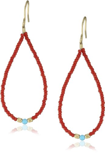 Chibi Jewels Red Glass Bead and Turquoise Loop Earrings