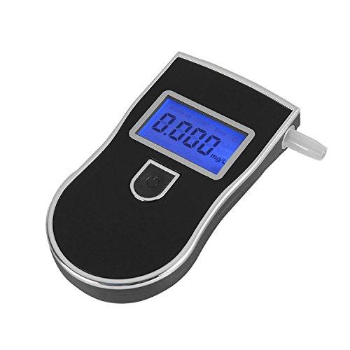 Japace® Police Professionnel Portable Breath Digital Alcohol Testeur Alcohol Tester LCD Display with Audible Alert Numérique Alcootest + 5 Bouche souffle-Style 1