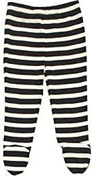 Organic Cotton Baby Pants Footed GOTS Certified Clothes (Black-Natural, 0-3m)