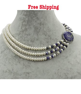 3 Strands Freshwater Pearl with a Lapis Clasp 18