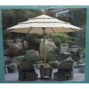 Sunbrella Wooden Market Umbrella 11' Tilt Patio Tan New
