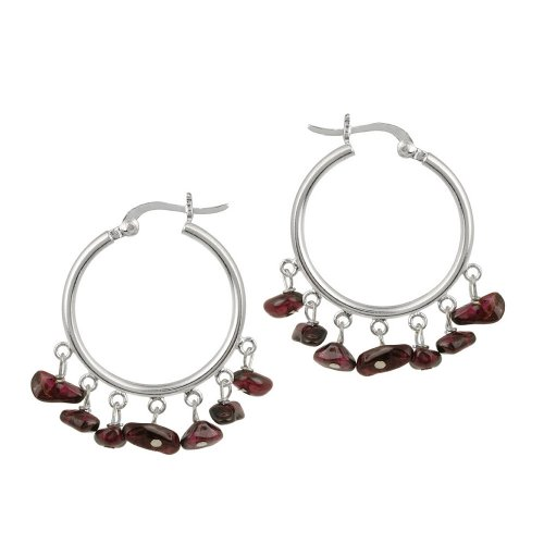 Sterling Silver Medium Hoop Earrings with Garnet Chip Drops (0.9