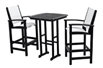 Hot Sale POLYWOOD PWS156-1-BL901 Coastal 3-Piece Bar Set, Black/White Sling