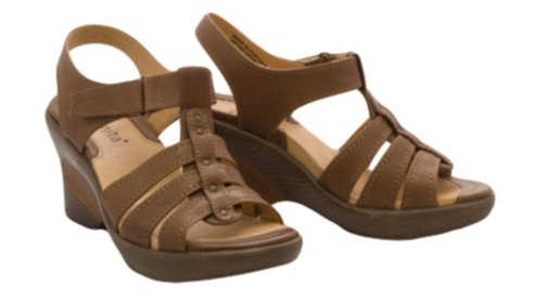 SANITA Sofia Womens SZ 9 Brown/3 Platforms Wedges Open-Toe Shoes