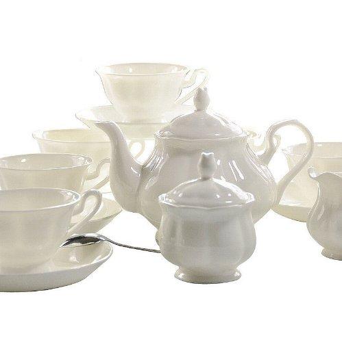 Ufingo-English White Ceramic Bone China 15 Piece Tea Set Tea Service Coffee Set