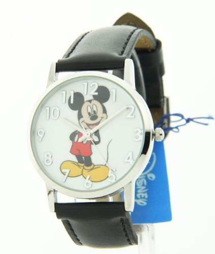 Disney Women's MCK836 Mickey Mouse Silver Case Black Strap Watch