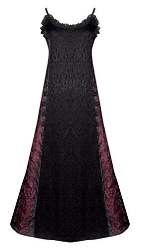 Victorian Valentine Gothic Steampunk Dress Black Burgundy M