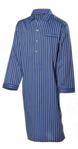 Men's Luxurious Cotton Nightshirt - Classic Blue and Navy Blue Stripe