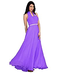 Awesome Fab Purple Colour Gorgette Partywear Designer Gown
