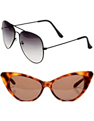 Unisex Uv Protected Combo Pack Of Aviator Sunglasses And Cateye Sunglasses ( Black Shd Black - Brown Cateye )...