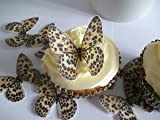 24 BUTTERFLIES LEOPARD PRINTFAB CUPCAKE/FAIRY Chunk TOPPERS EDIBLE RICE PAPER