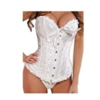 Zicac Sexy Fully Boned Overbust Black and White Bustier Brocade Basque Party Corset Back Lace up Bodice with G-string