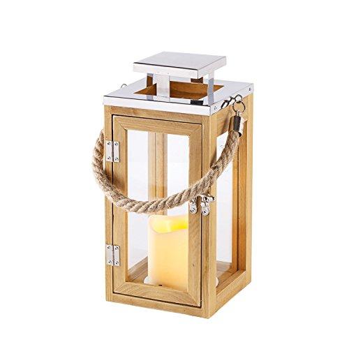 2er set holz laternen mit led kerzen zeitschaltuhr batteriebetrieb lights4fun europaletten kaufen. Black Bedroom Furniture Sets. Home Design Ideas