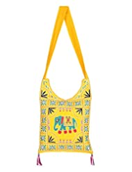 Rajrang Women's Elephant Printed Cotton Embroidered Work Yellow Sling Bag