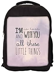 Snoogg All Those Little Things Backpack Rucksack School Travel Unisex Casual Canvas Bag Bookbag Satchel