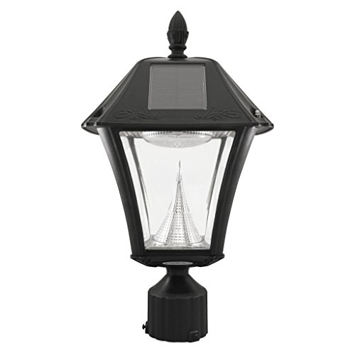 "Gama Sonic Gs-105F Solar Post Light, Baytown Ii Lamp W/3"" Fitter Brackets - 6000K - Black"