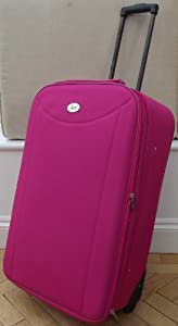 Medium 77 lts Travel Luggage suitcase On Wheels Bright Hot Pink EXPANDING trolly Light Weight