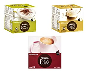 Nescafe Dolce Gusto 3 Flavour Variety Pack (Pack of 3, Total 48 Capsules)