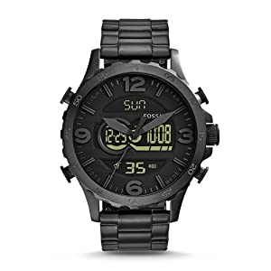 Fossil Men's JR1507 Nate Analog-Digital Black Stainless Steel Watch
