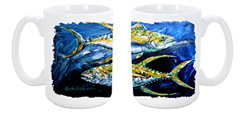 Caroline'S Treasures Fish - Tuna Tuna Blue Dishwasher Safe Microwavable Ceramic Coffee Mug 15 Ounce Mw1125Cm15 Made Or Printed In The Usa