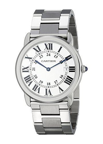 Cartier Men's 36mm Steel Bracelet & Case S. Sapphire Swiss Quartz Silver-Tone Dial Analog Watch W6701005