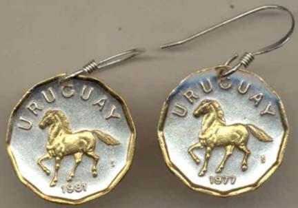 Uruguay 10 Centesimal ÒHorseÒ Two Tone Coin Earrings