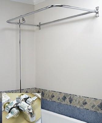 """Clawfoot Tub Add-On-Shower RX2300 Includes 54"""" D-Shower Rod IMPROVED MyPlumbingStuff MODEL JULY 2016 by Myplumbingstuff"""