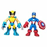 Heartwarming Playskool Heroes Marvel Figure 2 Pack - Captain America & Wolverine - Cleva Edition H8' Bundle