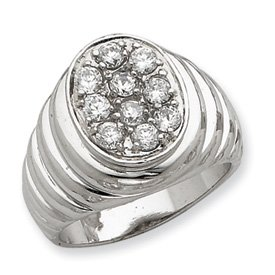 Genuine IceCarats Designer Jewelry Gift Sterling Silver Men's Cz Ring Size 10.00