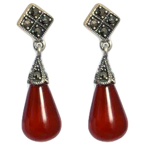 Red Kumud Red Stone Original Silver Ear Drop (Multicolor)