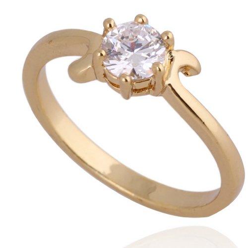 C-Princessリング 指輪 ring 18K金メッキ コーティング ラインストーン レディース 女性 アクセサリー ジュエリー エンゲージリング 使いやすい 彼女へ (15, イエローゴールド)
