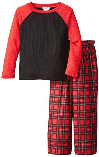 Komar Kids Big Boys' Holiday Plaid Thermal Top Pajama Set, Red, Small