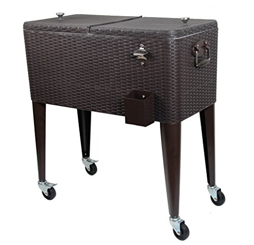UPHA 80 Quart Rolling Cooler Cart Outdoor Patio Party Cooling Bin, Brown Wicker Pattern (Outdoor Patio Beverage Cart compare prices)