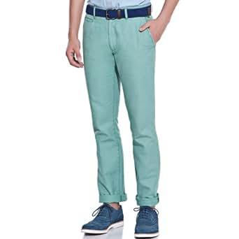 Springfield - Chino Trousers in Linen - Herren, 42, grün