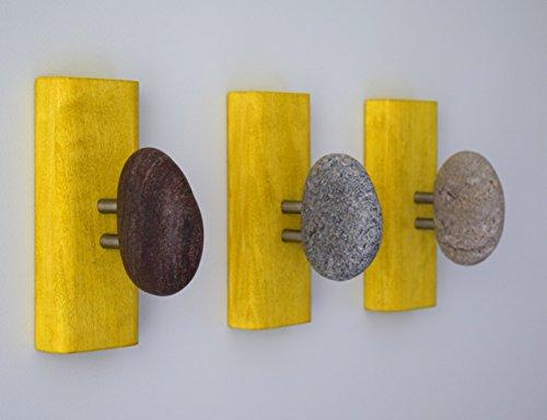 Unique Stone Towel Racks. Rock towel hangers. Beach stone Hooks - Wall mounted solid wood coat racks. Yellow wood robe hooks (Hot Tub Robe Tree compare prices)