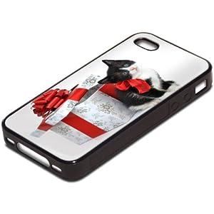 Chats 10025, Chatons de Noël, Antichoc Tough Silikone Rigide Coque Etui Case Housse Noir avec l'Image Coloré pour Apple iPhone 4 4S.